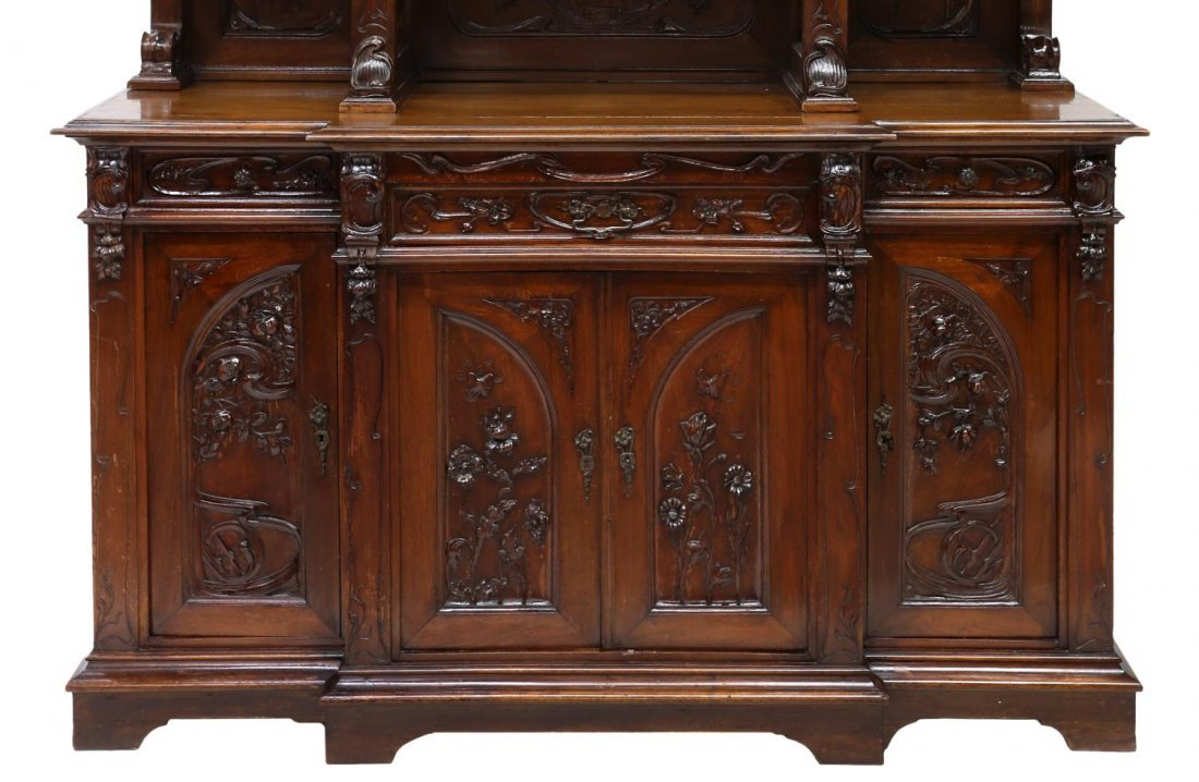 FRENCH ART NOUVEAU CARVED SIDEBOARD, C. 1900 - 4
