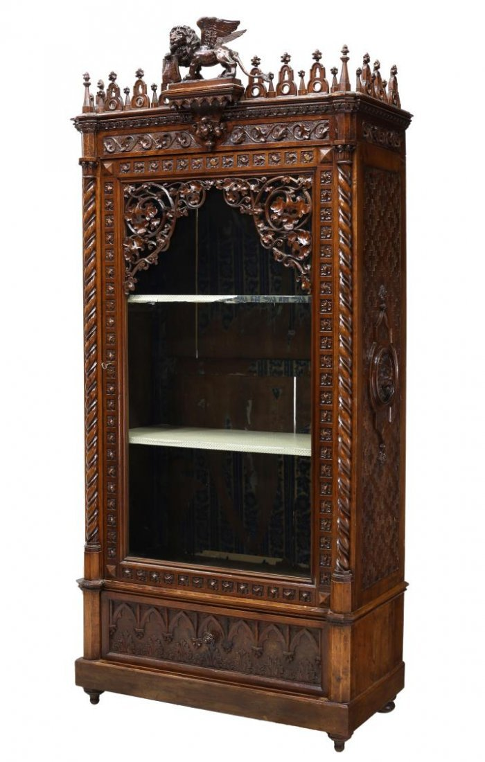 VENETIAN HEAVILY CARVED GOTHIC DISPLAY CABINET