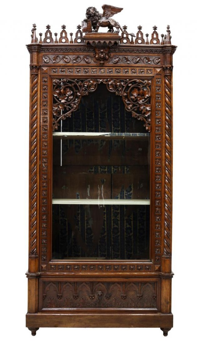 VENETIAN HEAVILY CARVED GOTHIC DISPLAY CABINET - 2