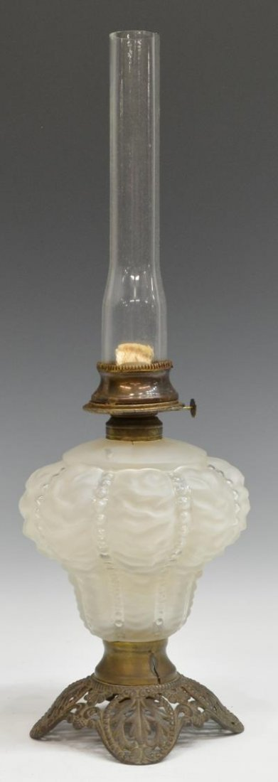 'GONE WITH THE WIND' SATIN GLASS PARLOR OIL LAMP - 2