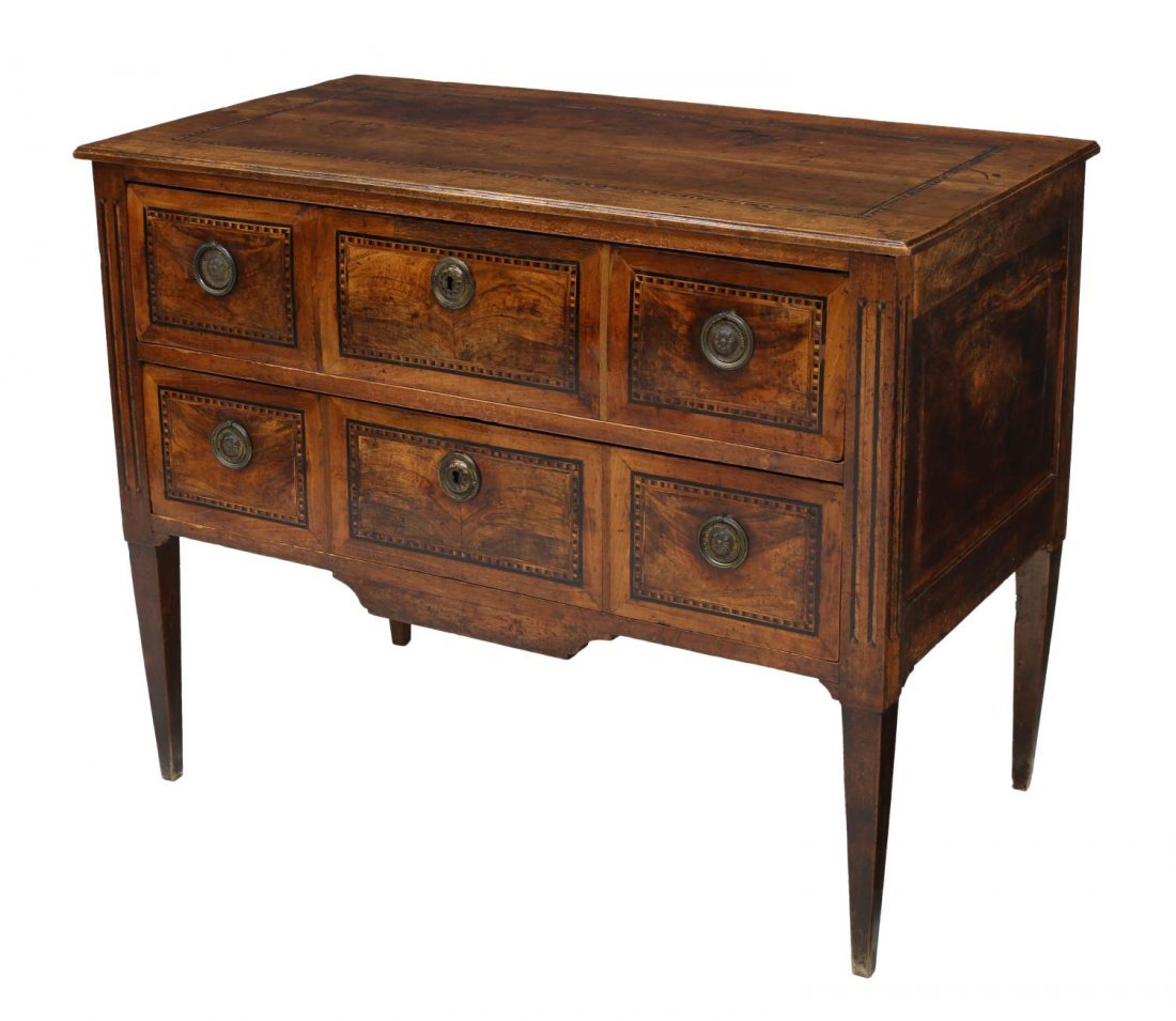 FRENCH LOUIS XVI PARQUETRY INLAID COMMODE 18TH C.