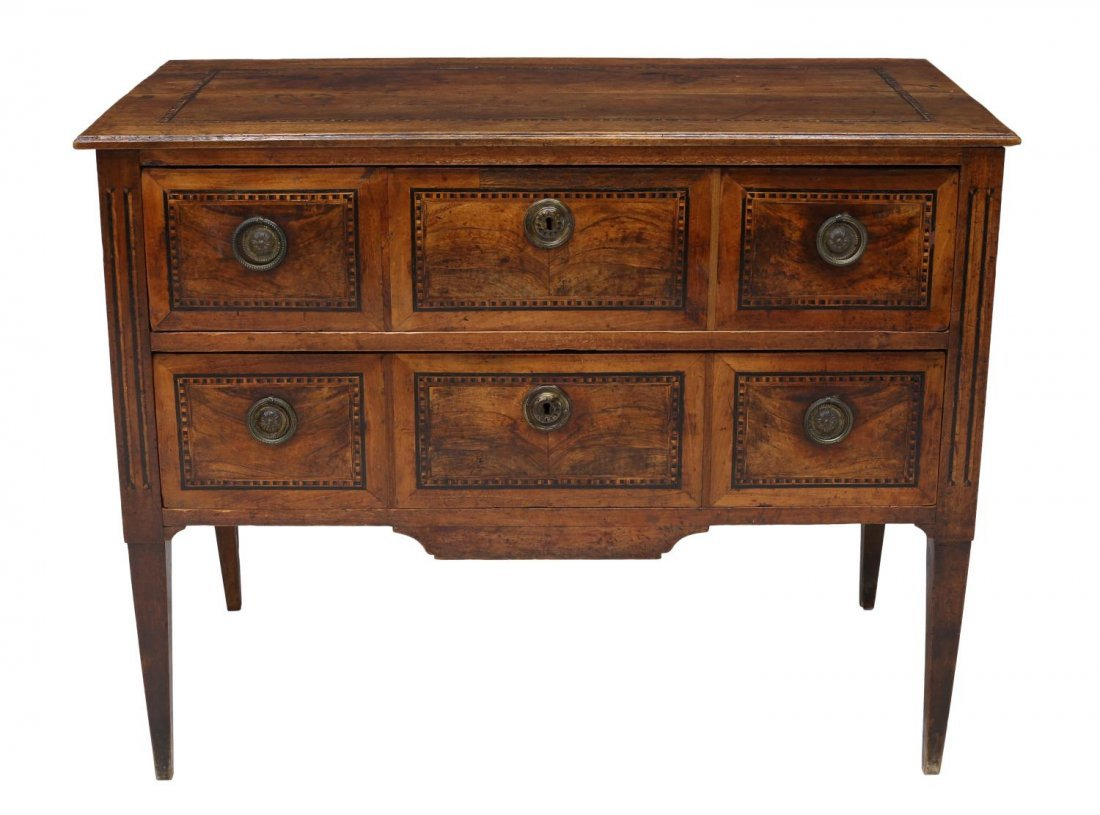 FRENCH LOUIS XVI PARQUETRY INLAID COMMODE 18TH C. - 3
