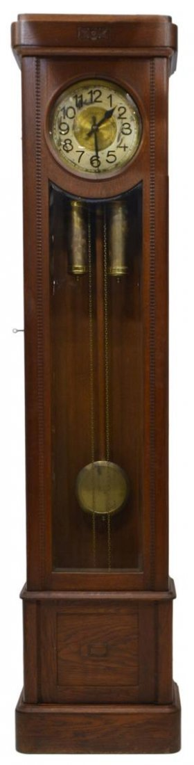 GERMAN OAK CASED GRANDFATHER CLOCK