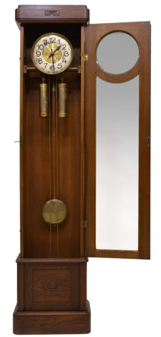 GERMAN OAK CASED GRANDFATHER CLOCK - 2