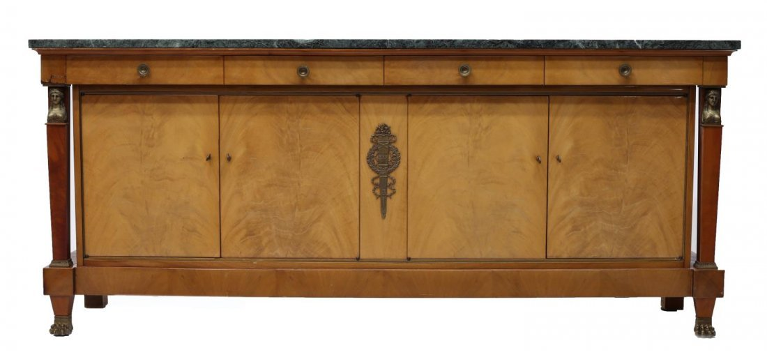 FRENCH EMPIRE STYLE MARBLE TOP SIDEBOARD, 20TH C - 3