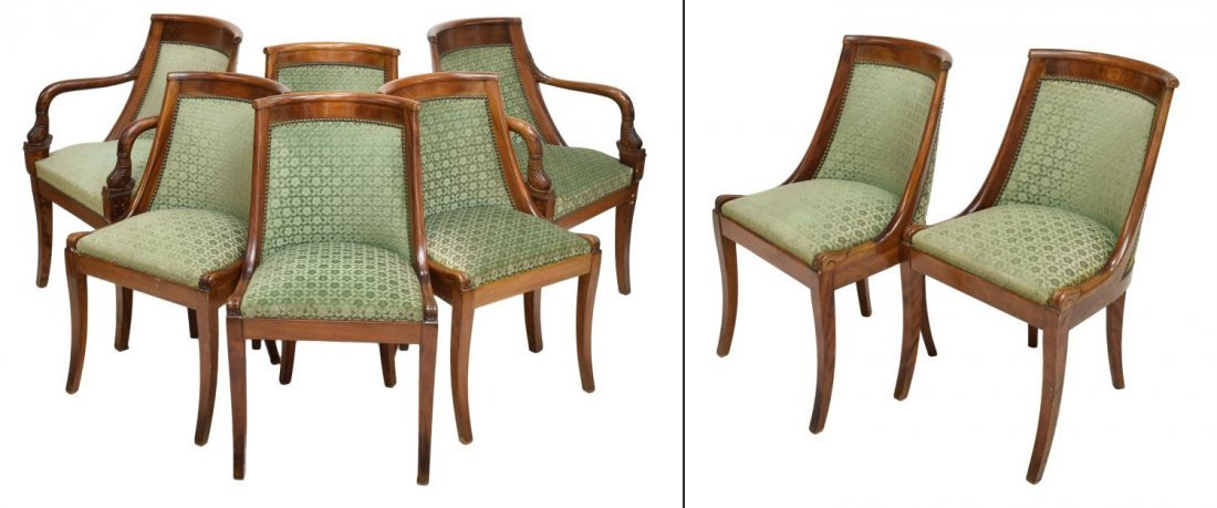 (8) FRENCH EMPIRE STYLE DINING CHAIRS EARLY 20TH C