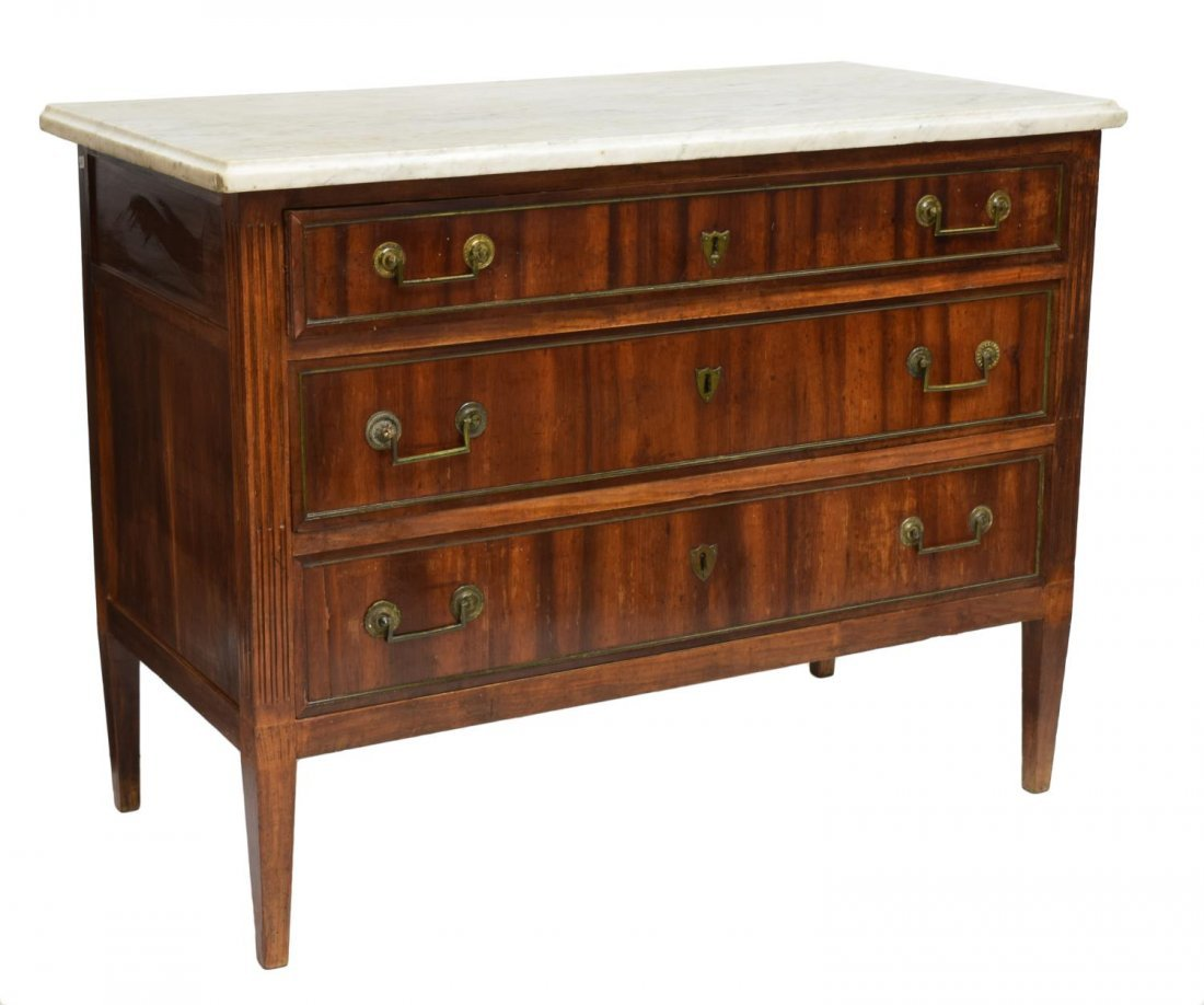 FRENCH MARBLE TOP MAHOGANY COMMODE, 18TH/19TH C