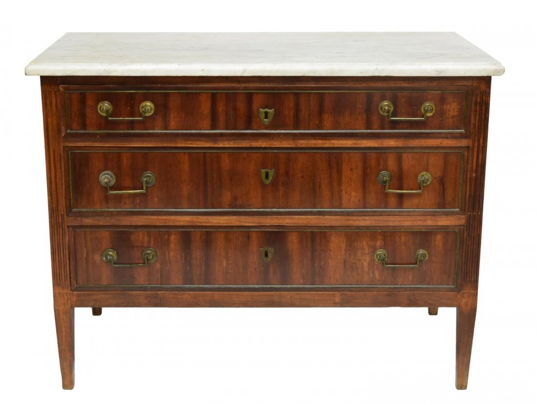 FRENCH MARBLE TOP MAHOGANY COMMODE, 18TH/19TH C - 2