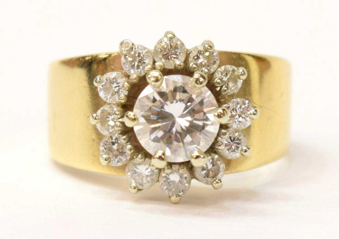 LADIES ESTATE 14KT GOLD DIAMOND CLUSTER RING .93CT