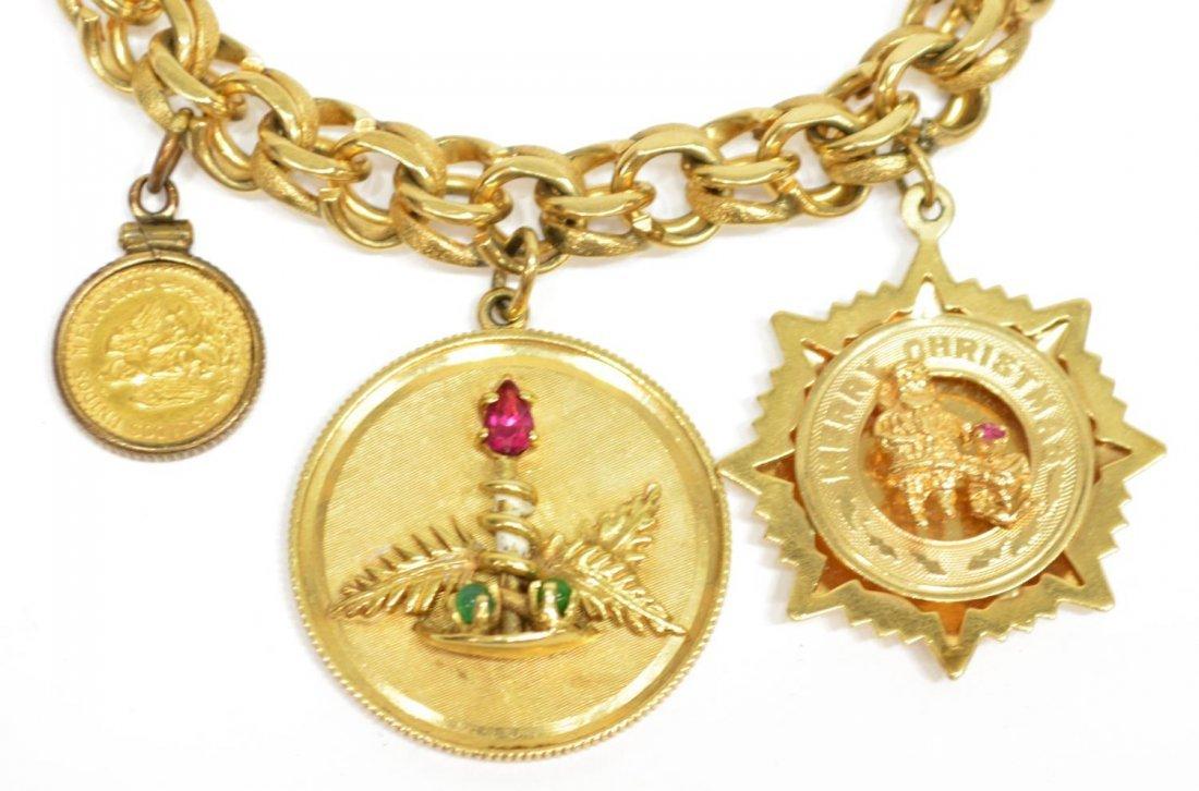 LADIES ESTATE 14KT YELLOW GOLD CHARM BRACELET - 4