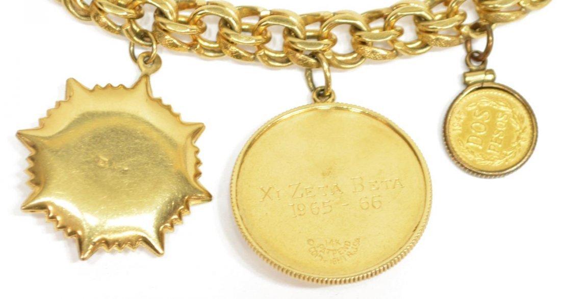 LADIES ESTATE 14KT YELLOW GOLD CHARM BRACELET - 5