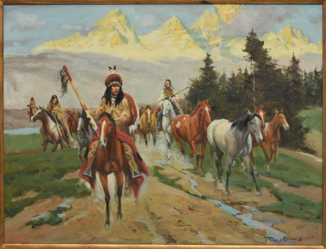 LARGE WESTERN INDIAN PAINTING, CAPTURED HORSES