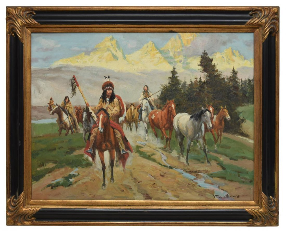 LARGE WESTERN INDIAN PAINTING, CAPTURED HORSES - 2
