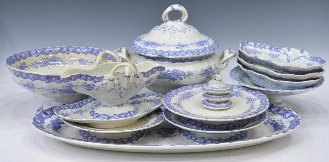 (92) COUNTRY FRENCH CERAMIC DINNER SERVICE - 7