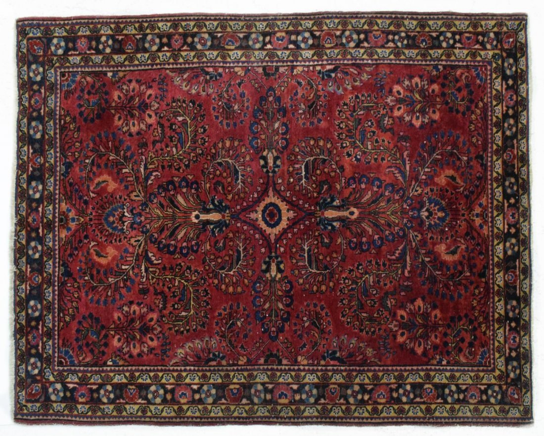 "HAND WOVEN PERSIAN PATTERN RUG, 4'9"" x 3'5"""