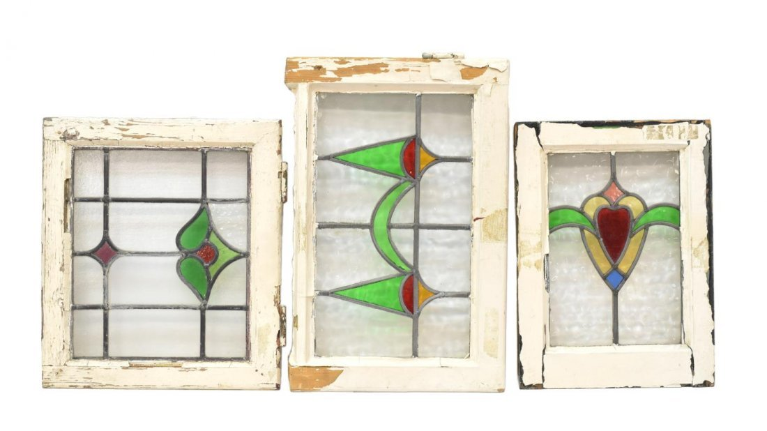 (3) ENGLISH FRAMED STAINED GLASS WINDOWS