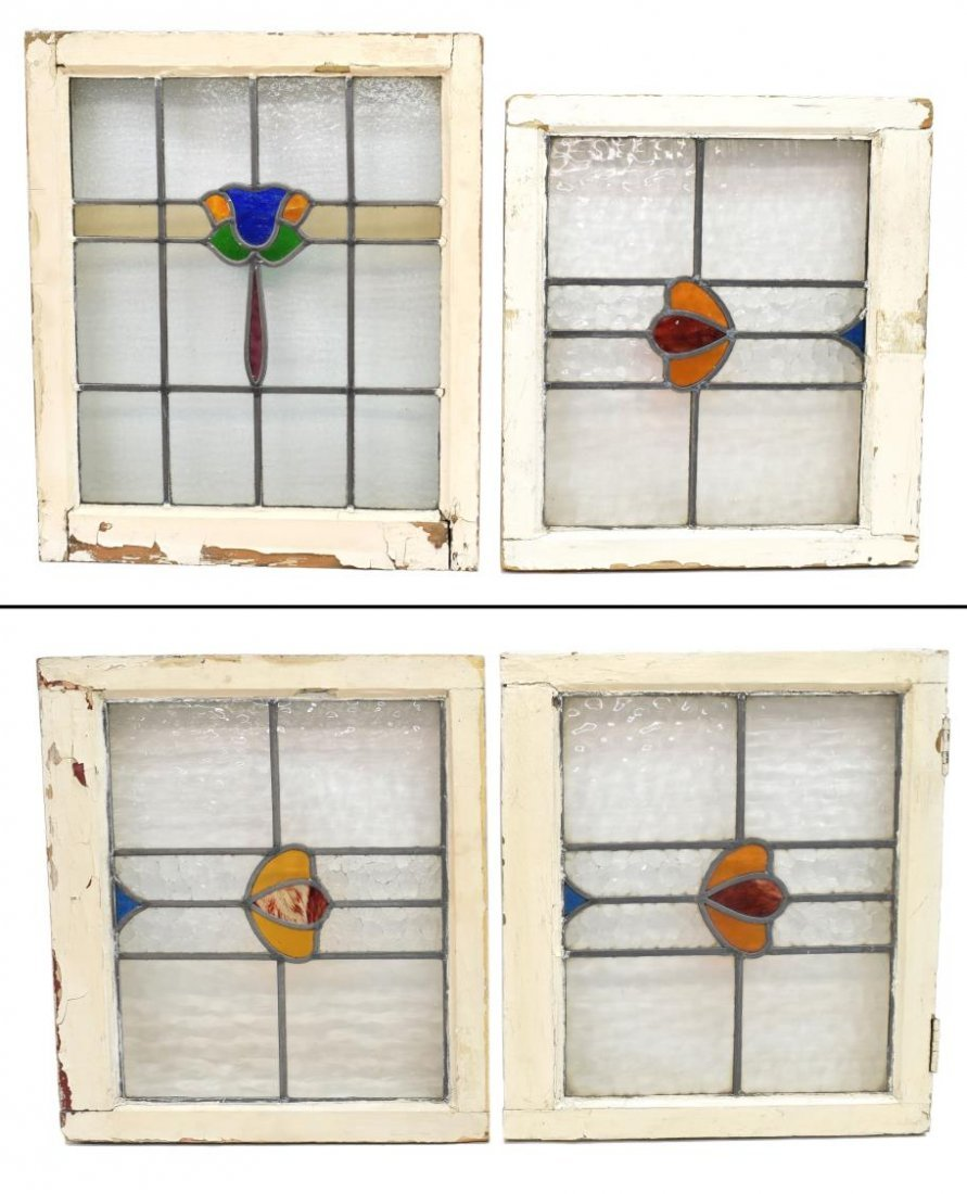 (4) ENGLISH FRAMED STAINED GLASS WINDOWS