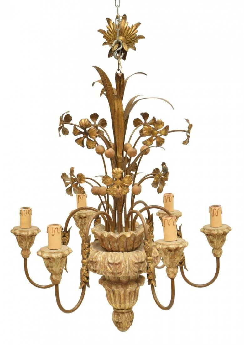 ITALIAN GILT WOOD & METAL 6-LIGHT CHANDELIER