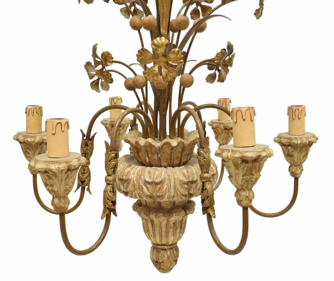ITALIAN GILT WOOD & METAL 6-LIGHT CHANDELIER - 2