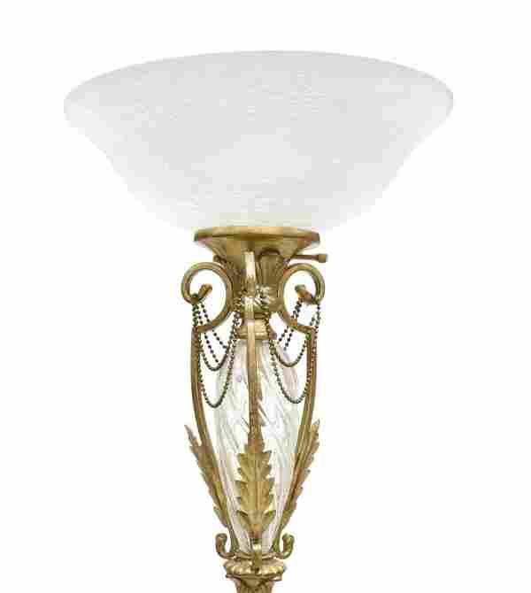 VINTAGE STANDING GILDED TORCHIERE LAMP