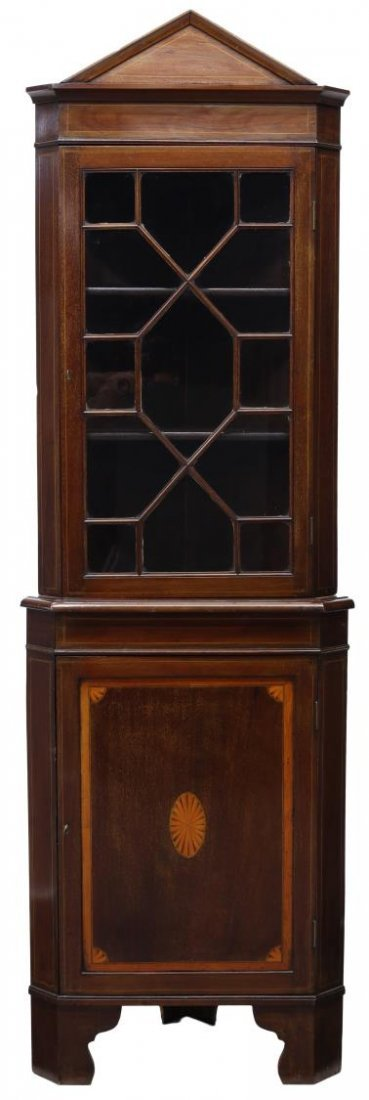 DANISH MARQUETRY MAHOGANY CORNER CUPBOARD 19TH C