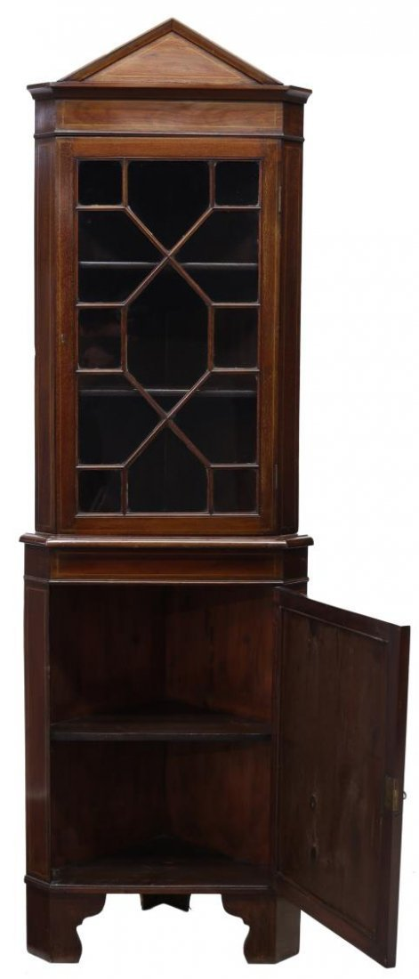 DANISH MARQUETRY MAHOGANY CORNER CUPBOARD 19TH C - 2