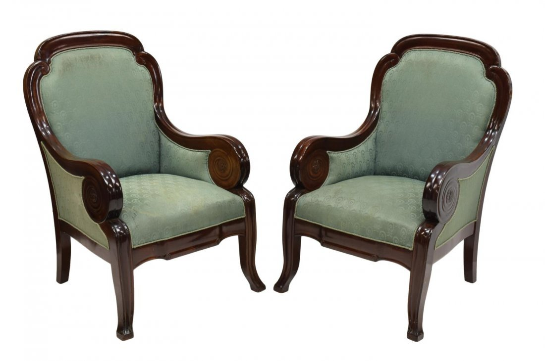 (2) DANISH EMPIRE STYLE MAHOGANY ARMCHAIRS C. 1900
