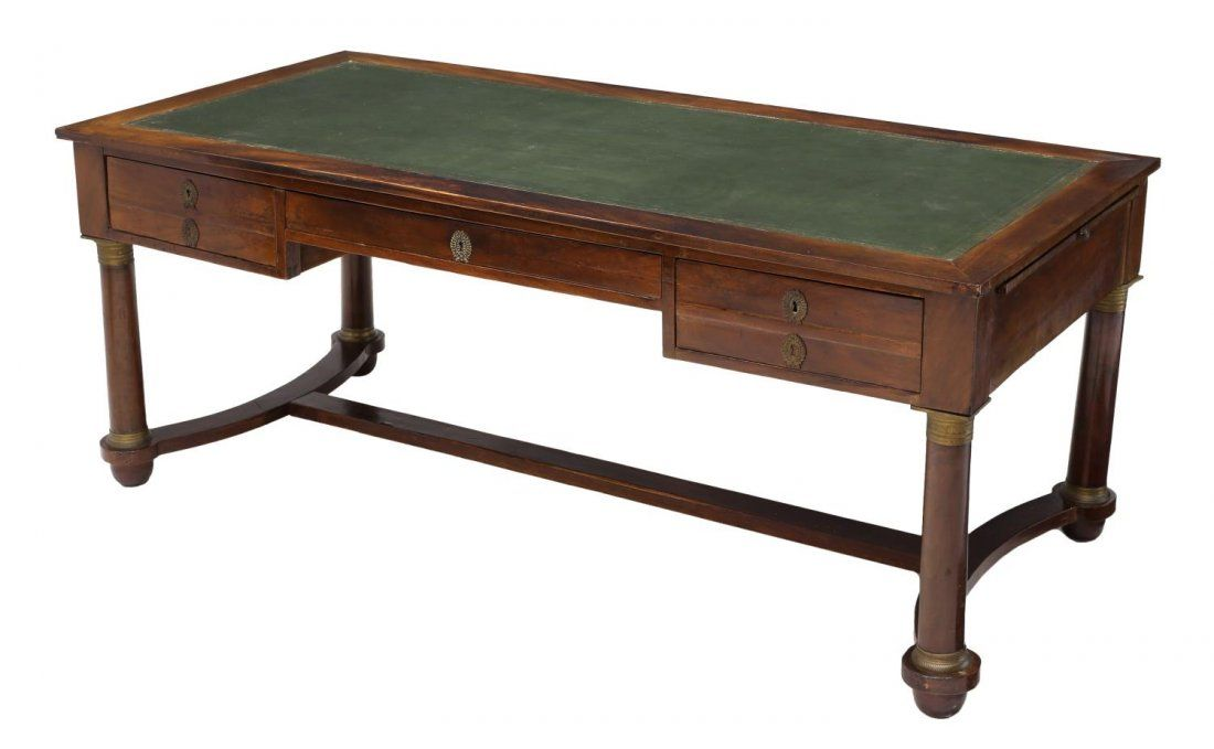 FRENCH EMPIRE STYLE LEATHER TOP WRITING DESK