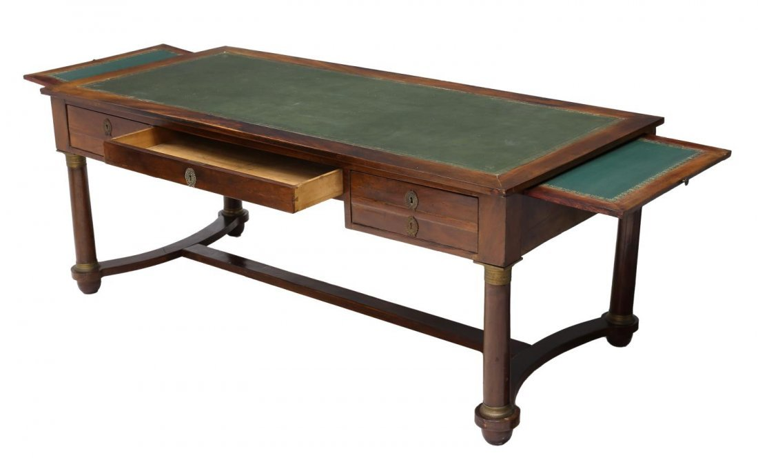 FRENCH EMPIRE STYLE LEATHER TOP WRITING DESK - 2