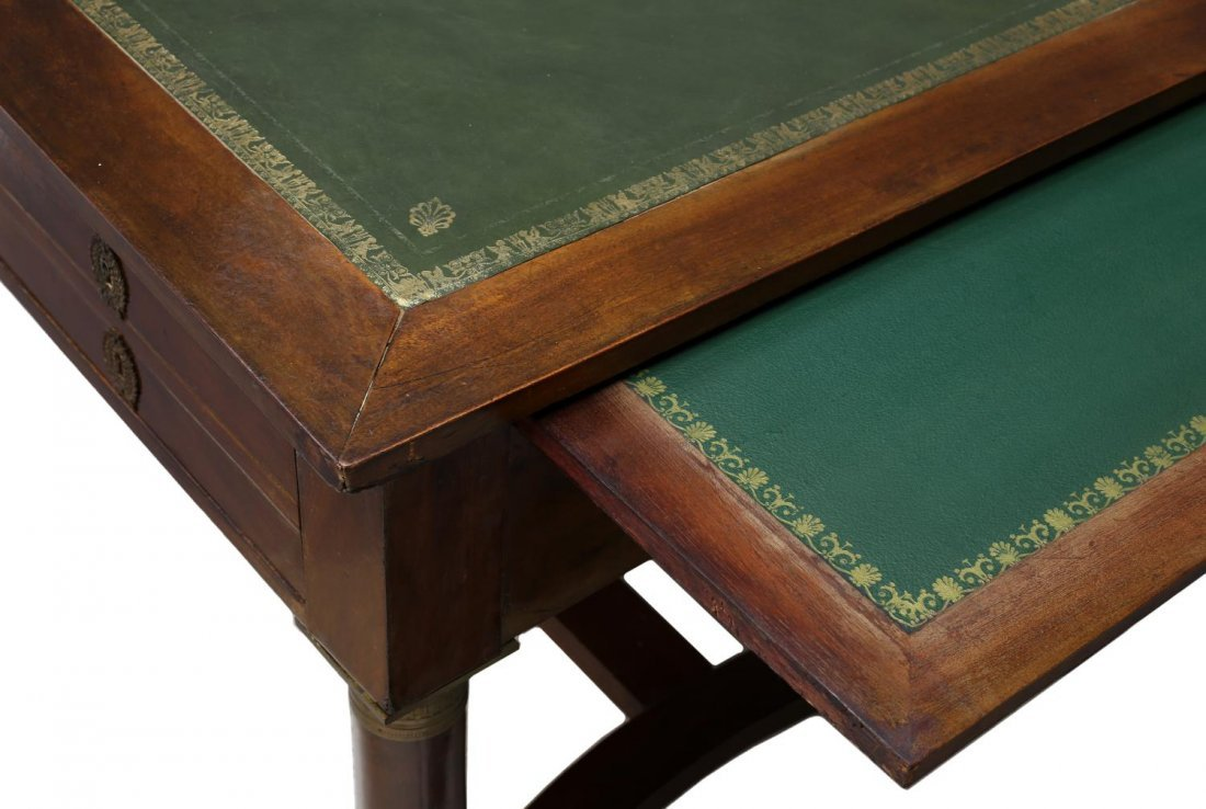 FRENCH EMPIRE STYLE LEATHER TOP WRITING DESK - 3