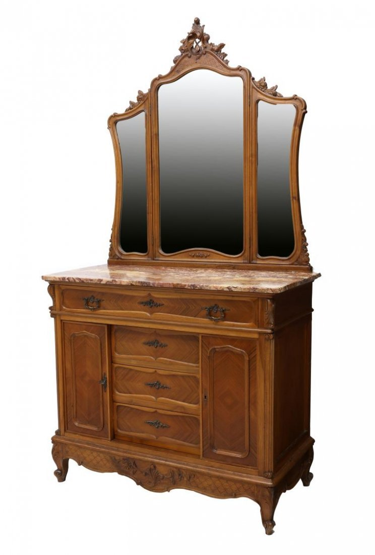 FRENCH WALNUT MARBLE TOP MIRRORED COMMODE