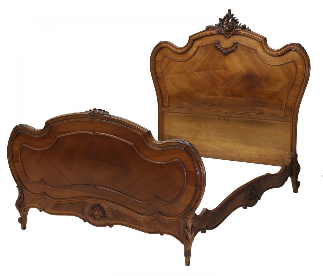 FRENCH LOUIS XV STYLE CARVED WALNUT BED, 19TH C