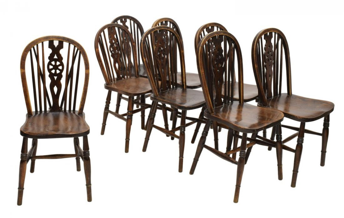 (8) ANTIQUE ENGLISH WHEEL BACK WINDSOR CHAIRS