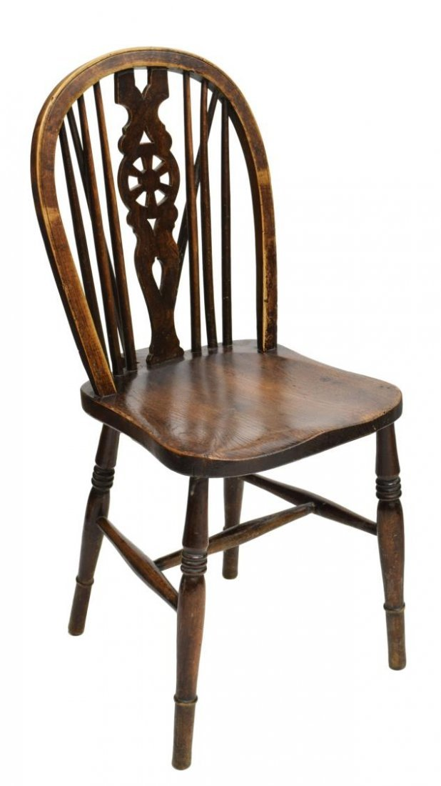 (8) ANTIQUE ENGLISH WHEEL BACK WINDSOR CHAIRS - 2