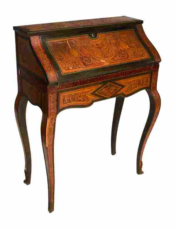 FAUX BOULLE INLAID FALL FRONT LADIES WRITING DESK