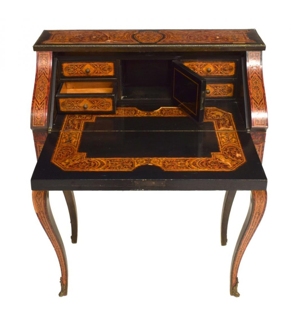FAUX BOULLE INLAID FALL FRONT LADIES WRITING DESK - 3