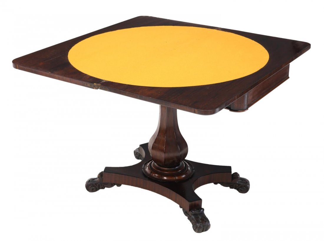 ENGLISH VICTORIAN ROSEWOOD FOLD TOP CARD TABLE - 2