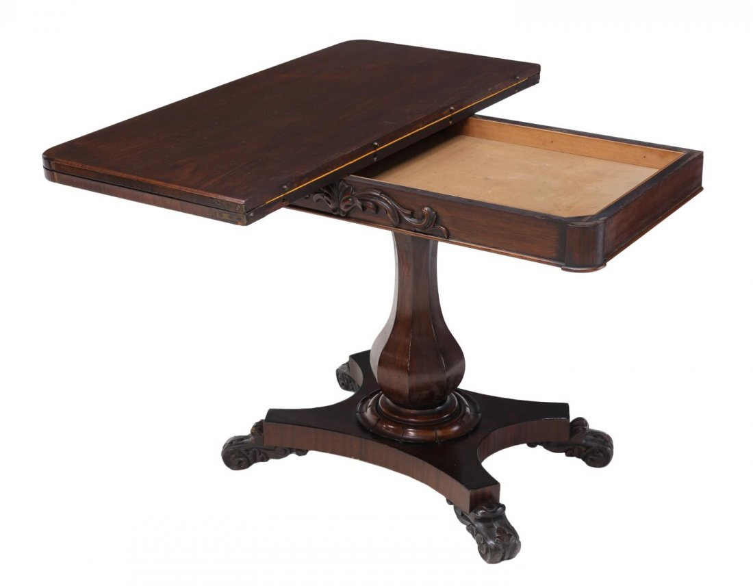 ENGLISH VICTORIAN ROSEWOOD FOLD TOP CARD TABLE - 3