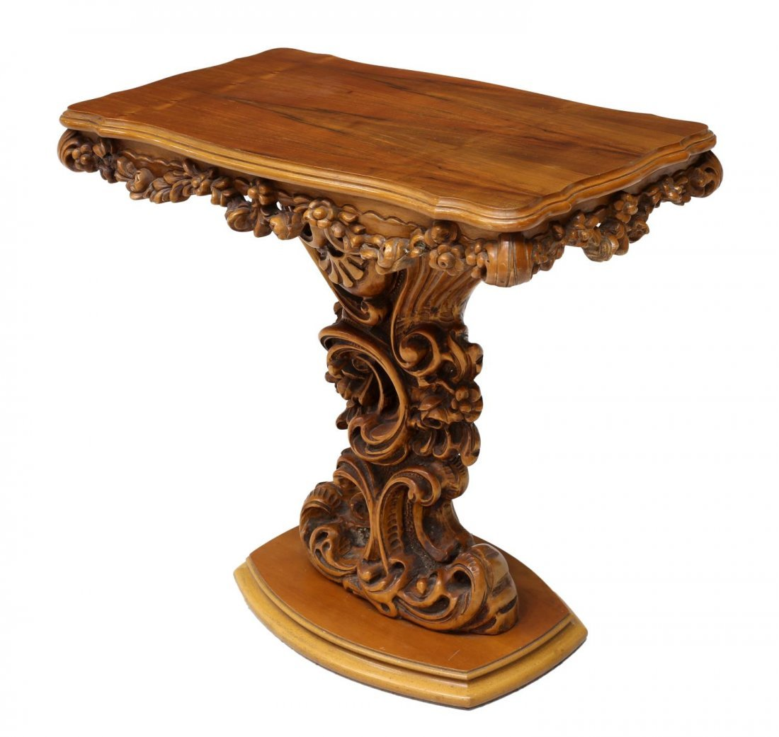LOUIS XV STYLE HEAVILY CARVED CONSOLE TABLE 20TH C