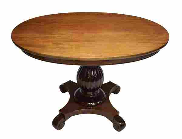 DANISH MAHOGANY OVAL FORM PEDESTAL TABLE, 20TH C