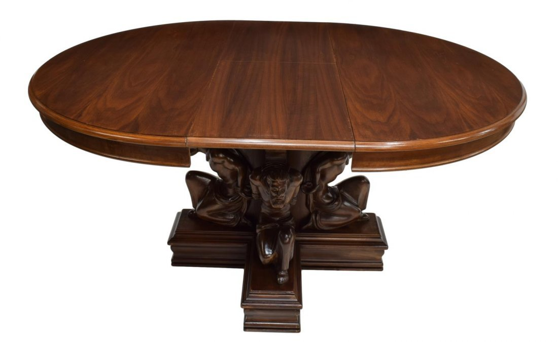 ROUND DINING TABLE W/ CARVED FIGURAL BASE, 20TH C - 3