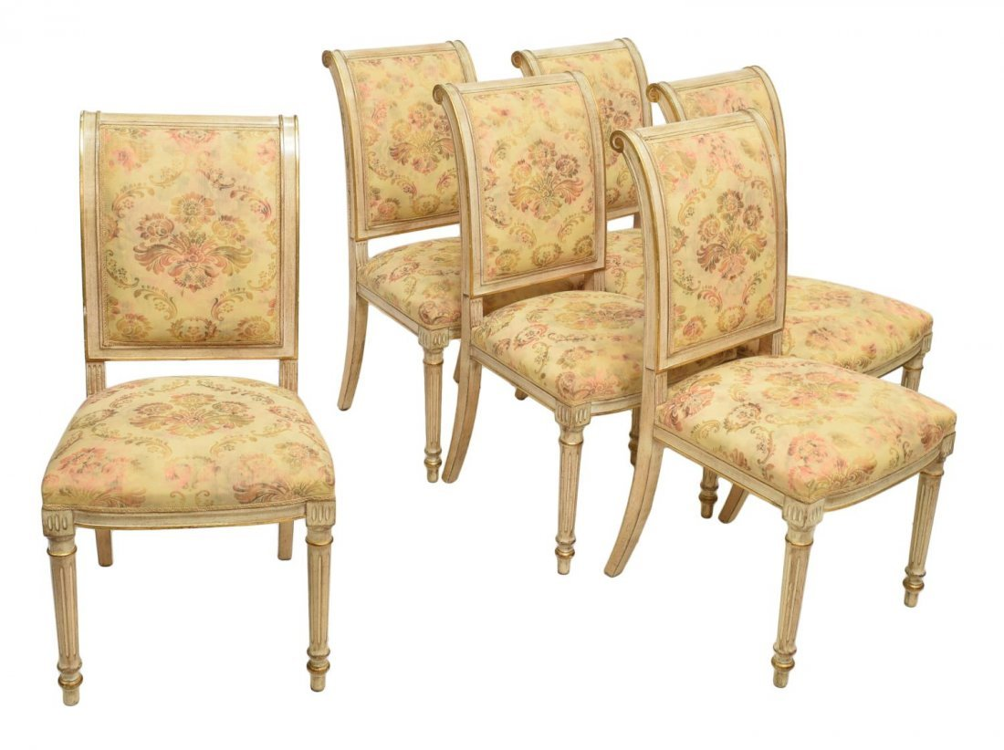 (6) FRENCH LOUIS XVI STYLE PAINTED SIDECHAIRS