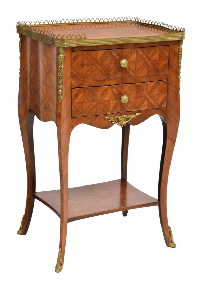ITALIAN GILT METAL & PARQUETRY INLAID SIDE TABLE