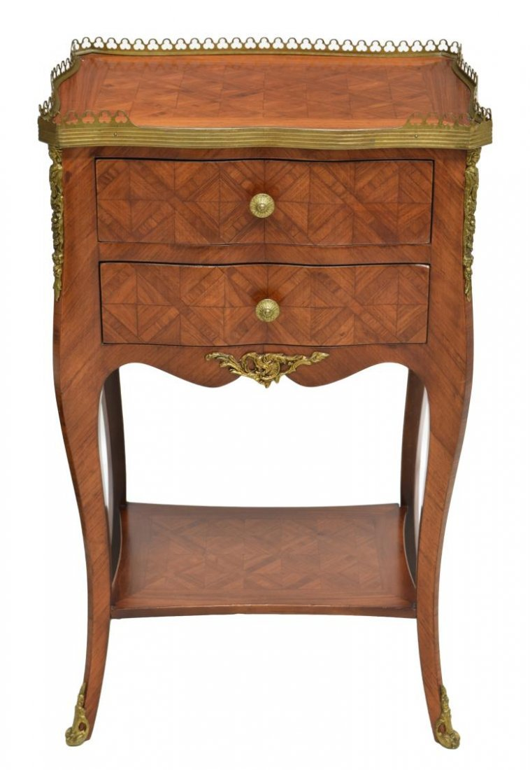 ITALIAN GILT METAL & PARQUETRY INLAID SIDE TABLE - 2