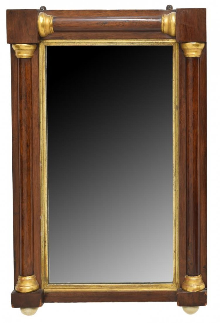 FRENCH EMPIRE STYLE HANGING WALL MIRROR, 20TH C