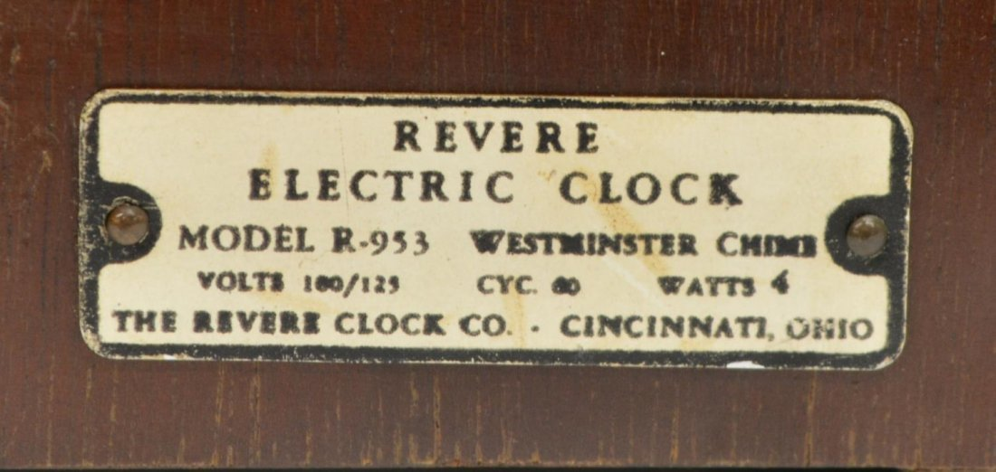 REVERE WESTMINSTER CHIMING ELECTRIC CLOCK OPERATES - 8