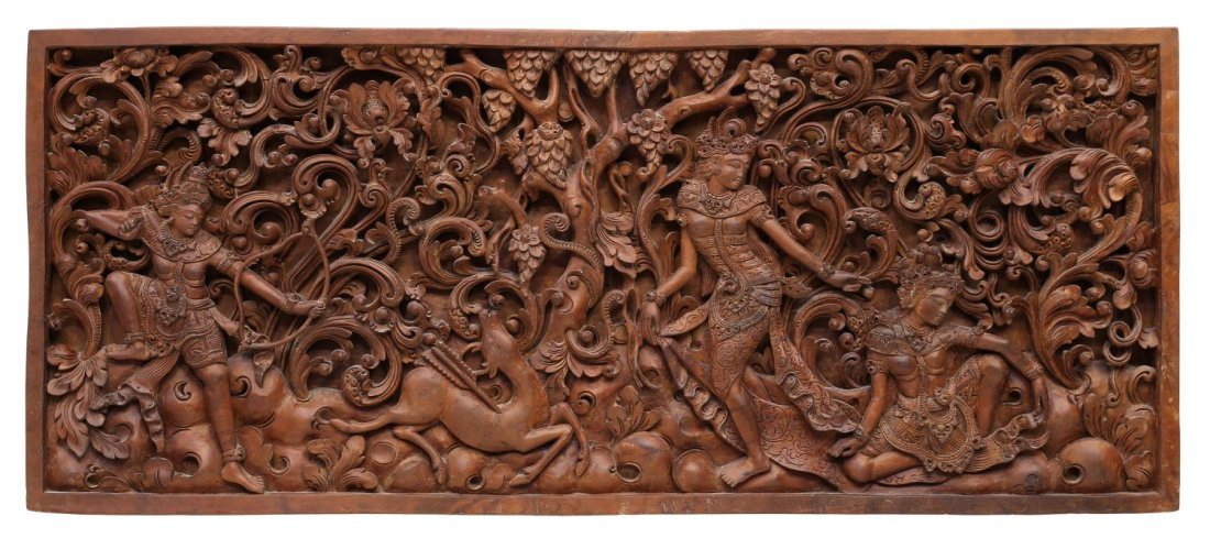 INDONESIAN CARVED FIGURAL WOODEN PANEL