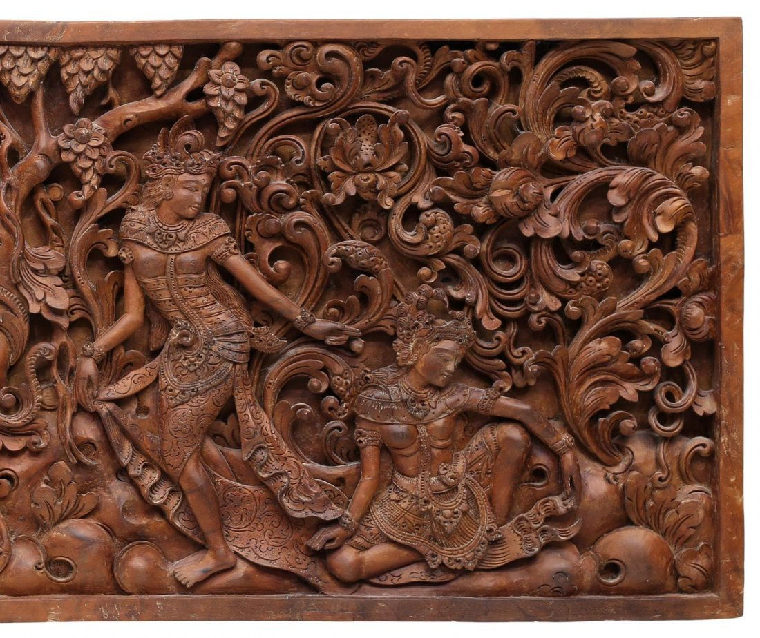 INDONESIAN CARVED FIGURAL WOODEN PANEL - 3