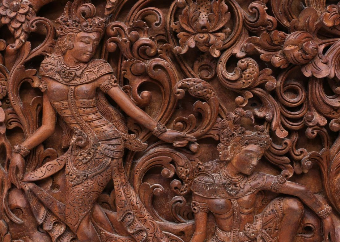 INDONESIAN CARVED FIGURAL WOODEN PANEL - 4