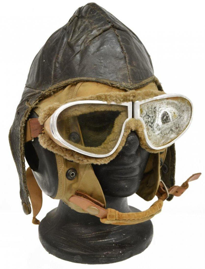 (4)MILITARY FLIGHT ITEMS WWII CLOTH HELMET GOGGLES